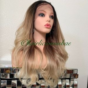 Frontal wig ash blonde ombré wavy layered long